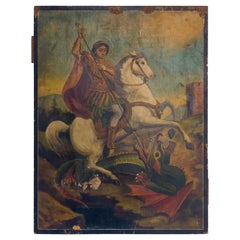Oil on Paper, St. George  and the Dragon