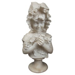 Marble Bust of Child, Holding Flowers
