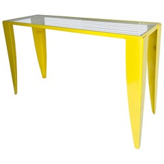 Italian Console Table with Glass Top, Powder Coated Yellow, Mid-Century Modern