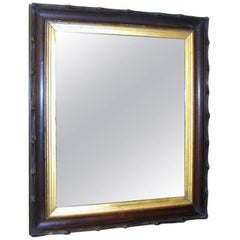 Black Forest Rustic Carved and Giltwood Mirror Frame