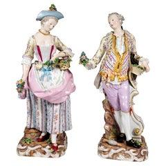 Meissen Large Pair of Figures Gardener Couple, by Kaendler & Schoenheit, Ca 1850