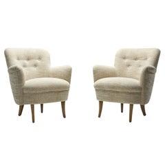 Carl Malmsten Upholstered Armchairs for O.H. Sjögren, Sweden 1960s