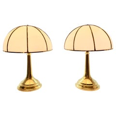 Gabriella Crespi Fungo Table Lamps, Double Signatures on Pair
