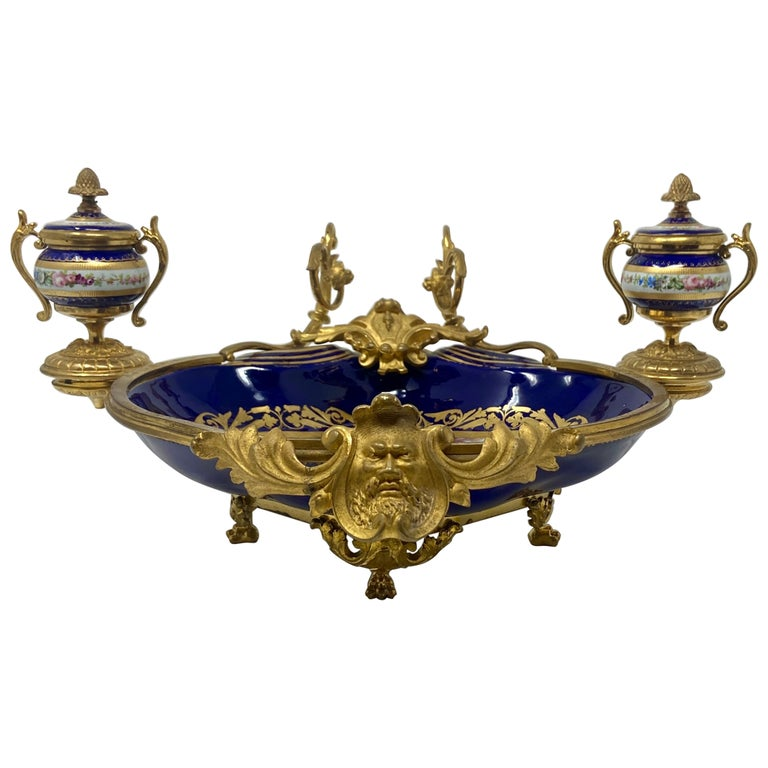 """Antique French Ormolu Mounted Blue """"Sevres"""" Porcelain Inkwell, Circa 1860-1880. For Sale"""