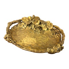 19th Century Bronze Tray with Floral Ornaments Signed by Albert Marionnet