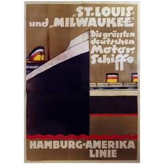 """Rare German Art Deco Period Poster for the """"St. Louis and Milwaukee Ships,"""" 1929"""