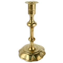 Antique 18th Century George II English Brass Petal Base Single Candlestick