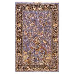 Antique Persian Isfahan Silk Rug