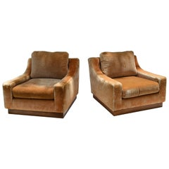 French lounge Mid-Century Modern Beige Corduroy & Wood Lounge Chair Pair