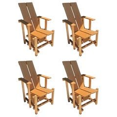 Set of 4 Cedar, Geometric Outdoor Chairs Inspired by Gerrit Rietveld