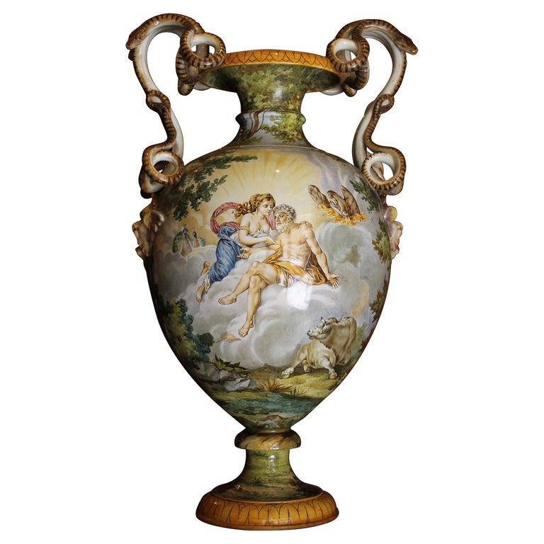 Ginori, Italian Hand Painted Faience Vase, Snakes Handles Renaissance Revival