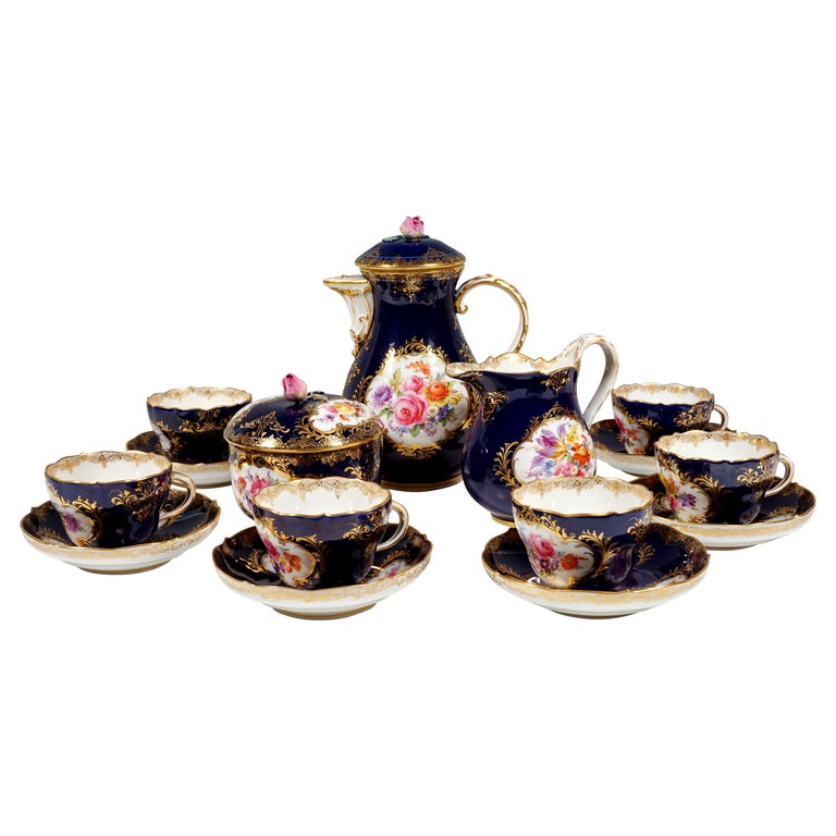 19th Century Meissen Coffee Set for 6 Persons, Cobalt, Bouquets and Gold Decor