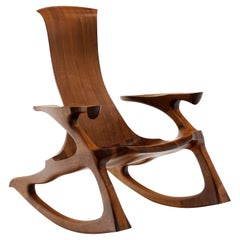 American Studio Craft Sculptural Walnut Rocking Chair, Hand Crafted, Marked