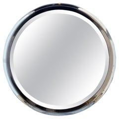 Polished Chrome and Gum Metal Beveled Mirror