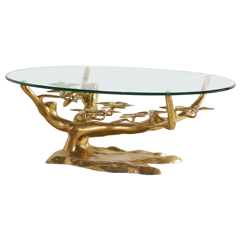 Brass Bonsai Coffee Table by Willy Daro, Belgium 1970's For Sale
