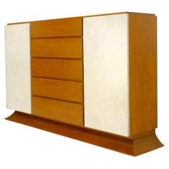 Art Deco 5 Drawers w/ 2 Secret Drawers 2 Leather Diamond Doors Compartment