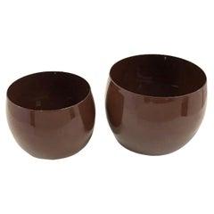 Danish Modern Pair Dansk Designs Brown Koben Style Enameled Bowls IHQ 1960s