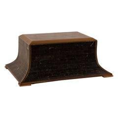 Vintage Maitland Smith Black Tessellated Stone Box Brass Trim