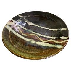 Beautiful Glazed Japanese Signed Mashiko Yaki Mingei Art Pottery Charger Plate