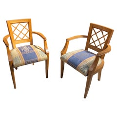 2 Art Deco 1940 Oak Armchairs in the Style of Jacques Adnet
