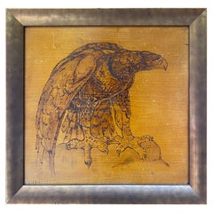 Art Deco Painting Representing an Eagle, Pyrography Work on Wood