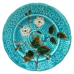 Aqua Majolica Wild Rose Plate Schutz Blansko, Circa 1890