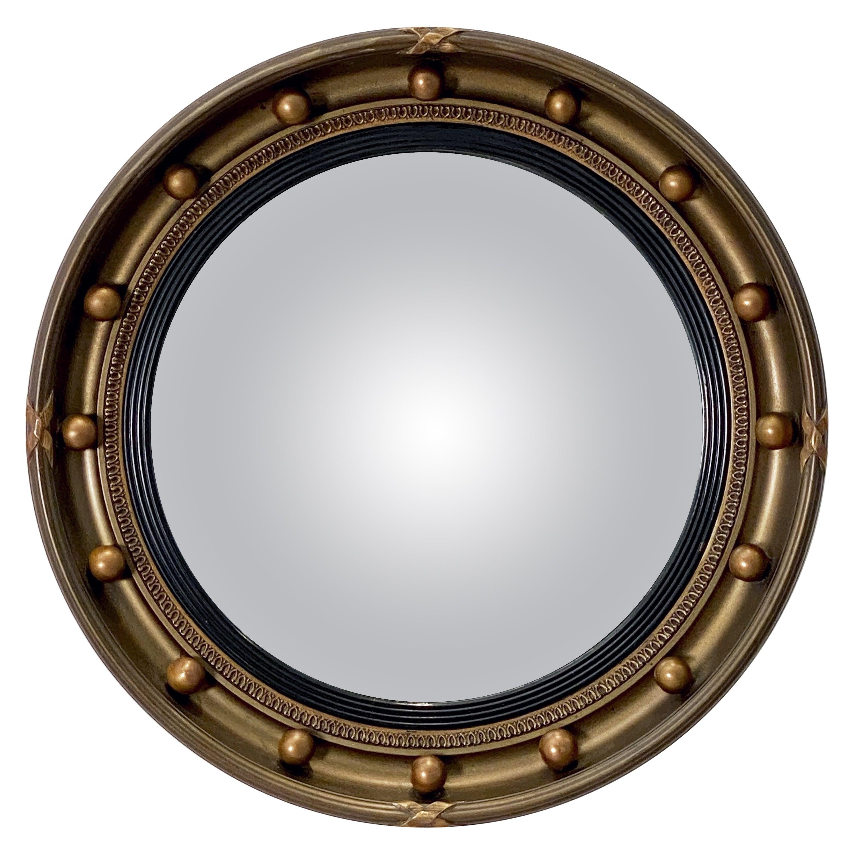 English Round Gilt Framed Convex Mirror (Diameter 16 1/2)
