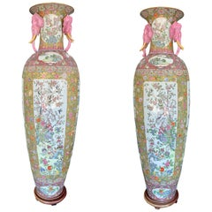 Monumental Pair of Chinese Rose Canton Porcelain Palace Vases