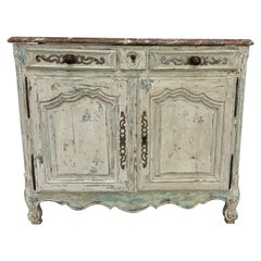 French Buffet Louis XV Style, 19th Century with Marble Top Patinated by Benoit