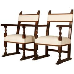 19th Century Walnut Armchairs, Spanish Baroque Style, New Upholstery