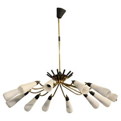1950s Stilnovo Style Mid-Century Modern Brass and Glass Huge Italian Chandelier
