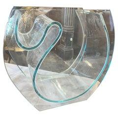 1980s Modernist Transparent Green Glass Italian Vase