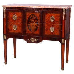 Antique French Louis XVI Style Marble Top Kingwood & Rosewood Commode, 20th C