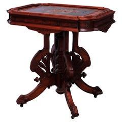 Antique Eastlake Berkey & Gay Attrb. Walnut & Burl Inlaid Parlor Table, c1880