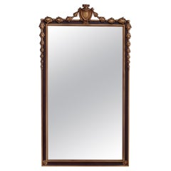 Antique French Style Polychrome & Giltwood Wall Mirror, Circa 1930