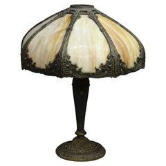 Antique Arts & Crafts Bradley & Hubbard School Slag Glass Table Lamp, c1920