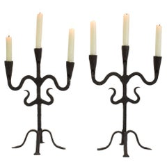 Pair of 18th-19th Century Hand-Forged Iron Candleholders
