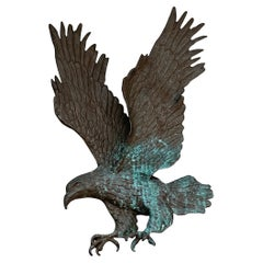 Rare and Handcrafted Bronze Eagle Sculpture for Indoor or Outdoor Wall Mounting