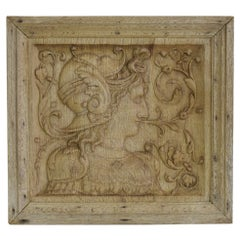 16th-17th Century French Carved Oak Panel with a Helmed Figure