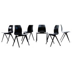 Set of 6 Prouve Style Industrial Stacking Chairs