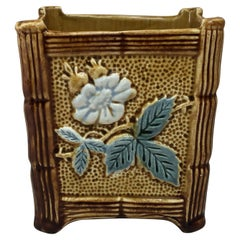 French Majolica Square Jardiniere with Flowers, Circa 1890