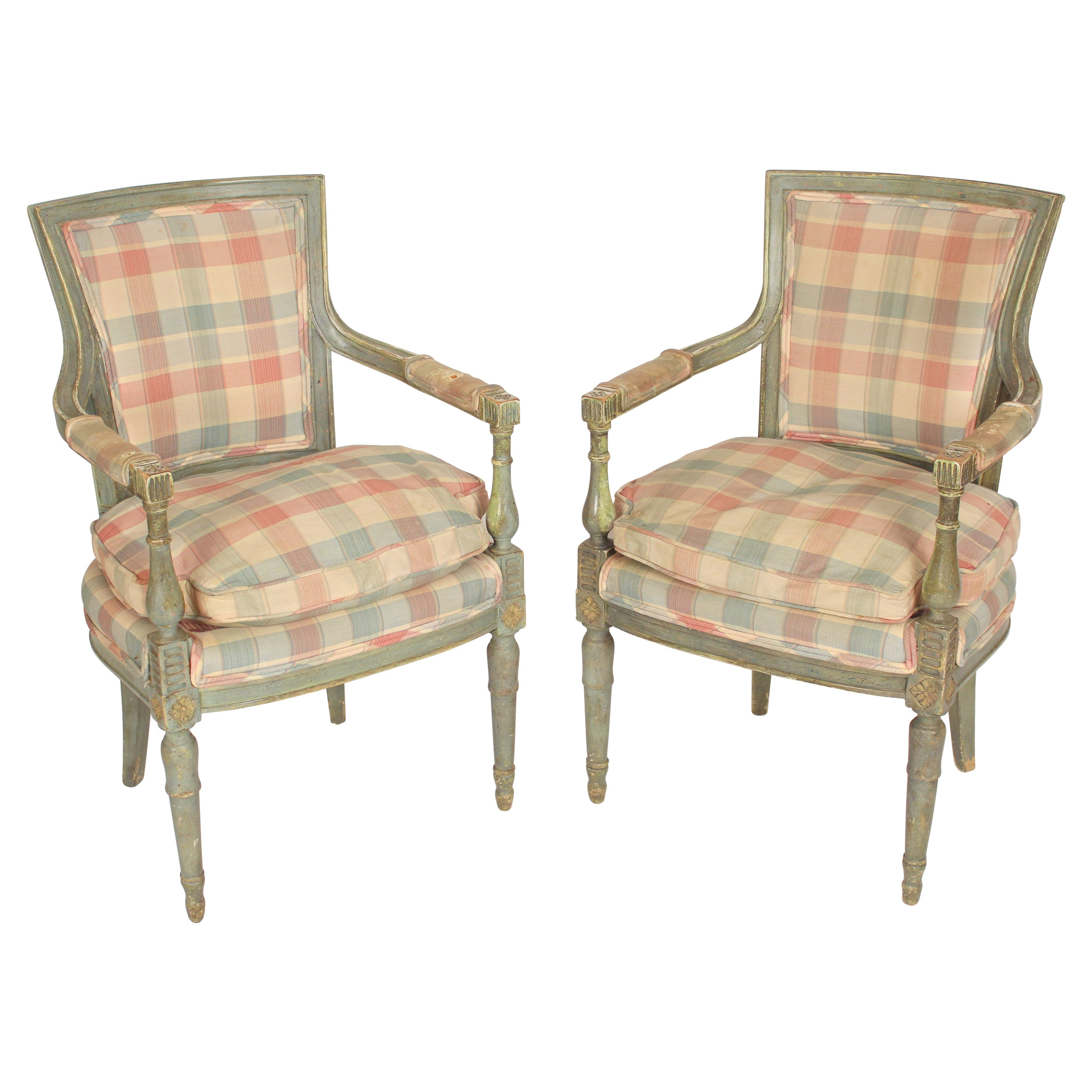 Pair of Louis XVI Style Painted Armchairs