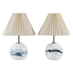 Michael Bang for Holmegaard Pair of Sakura Glass Table Lamps Denmark, 1980s
