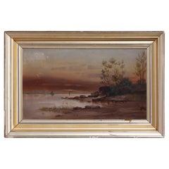 Antique Hudson River School Landscape Oil Paining in Lemon Giltwood Frame, c1860