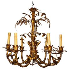 "Gilt Metal ""Bamboo"" Chandelier"