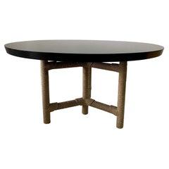 "Christian Astuguevieille Large Round ""Afriba"" Dining Table in Ebonized Wood"