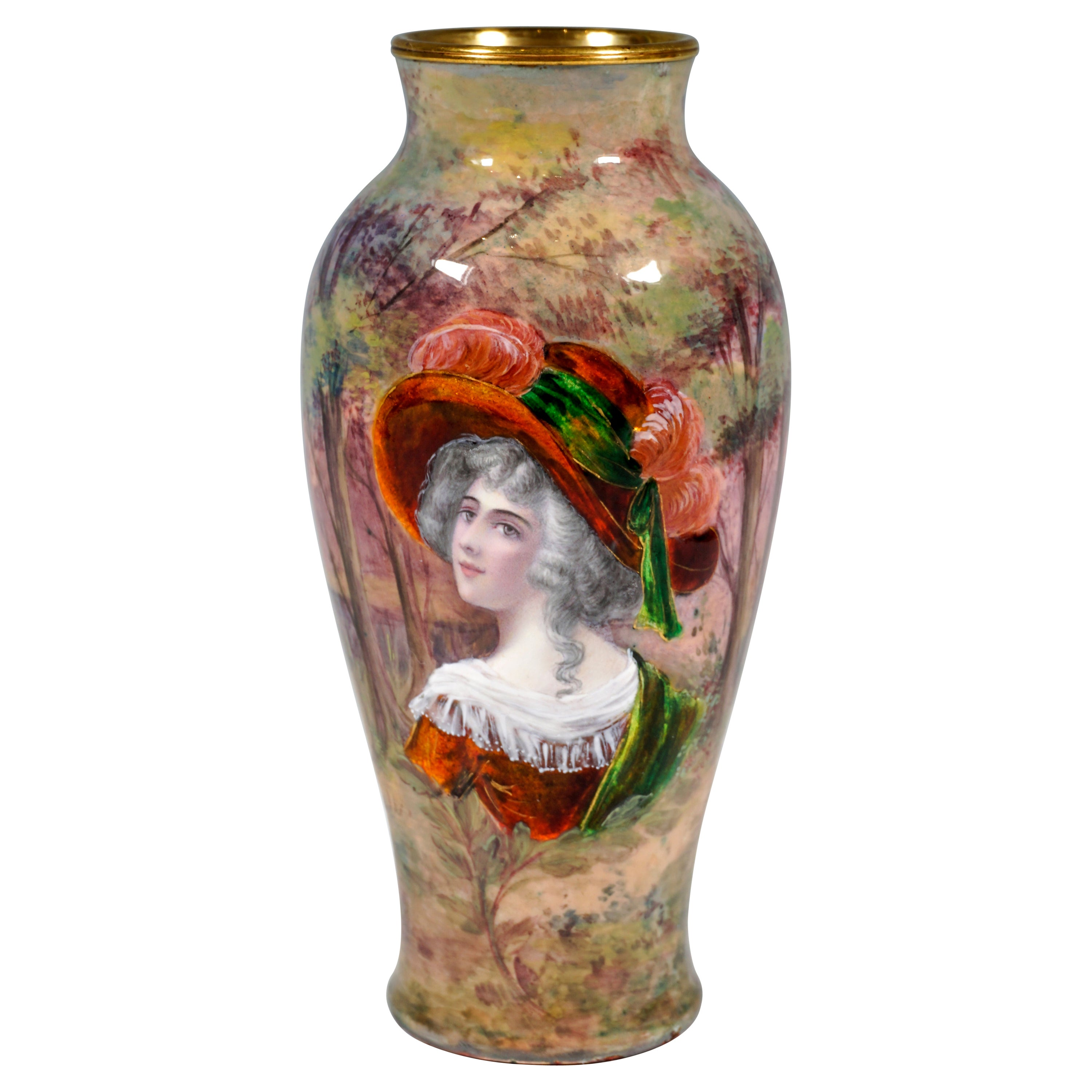 19th Century Viennese Enamel Vase with Portrait of a Lady in Front of Landscape