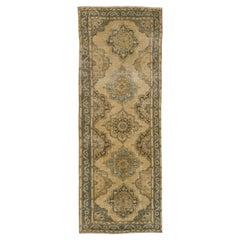 Vintage Oushak Runner Rug, Geometric Design Hand-Knotted Carpet
