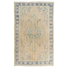 6x9.6 Ft Hand-Knotted Vintage Anatolian Area Rug with Art Deco Chinese Design