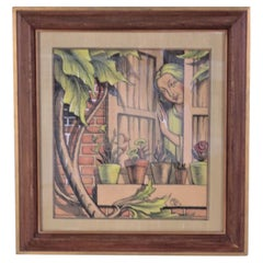 1920s William Bradford Green Watercolor with Heydendryk Frame